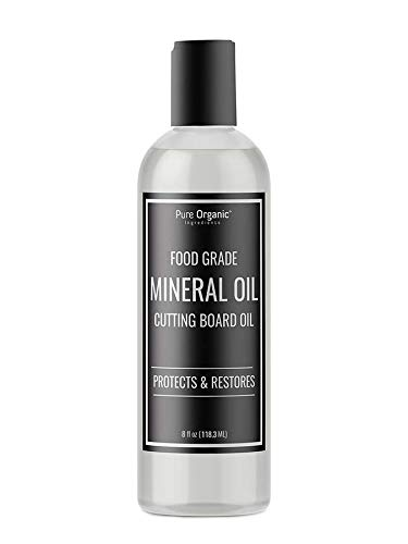 Pure Organic Ingredients Mineral Oil, Food Grade, For Cutting Boards, Butcher Blocks, Countertops, Wood Utensils (4 oz)