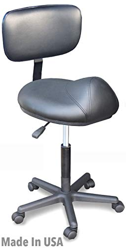 915-BSM Medical Ergonomic Saddle Stool Chair Anti-Fatigue w/air Lift & Adjustable Back Support Made in USA by Dina Meri (Stool Adjustable Physician)