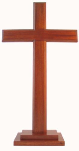 60cm standing cross square base Christian desktop gift crucifix wooden wood by Shalom by Shalom