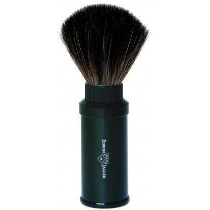 Edwin Jagger Synthetic, Super, Silver & Best Badger Shaving Brush (Travel Brush, Black Synthetic Fibre, Anodized Aluminum)