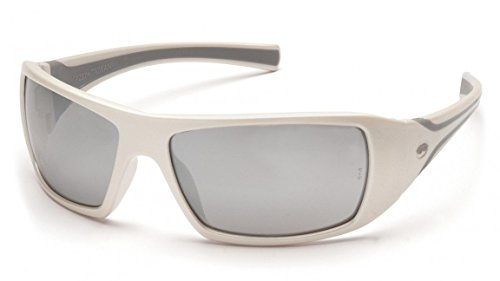 White Frame Silver Mirror Lenses - Pyramex Goliath Safety Eyewear, White Frame, Silver Mirror Lens