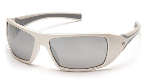 Pyramex Goliath Safety Eyewear, White Frame, Silver Mirror L
