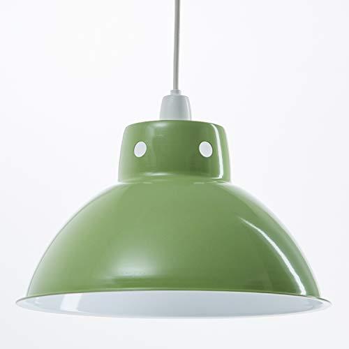 Pantalla de metal estilo café retro moderno para luz colgante de techo. Forma de cúpula industrial / vendimia. 300 mm de diámetro - Verde Lima