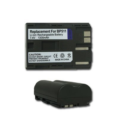 NEW 2 PACK BATTERY 1300 mAh for CANON BP-511 BP-511A BP-512 Bp 512 Compatible Battery