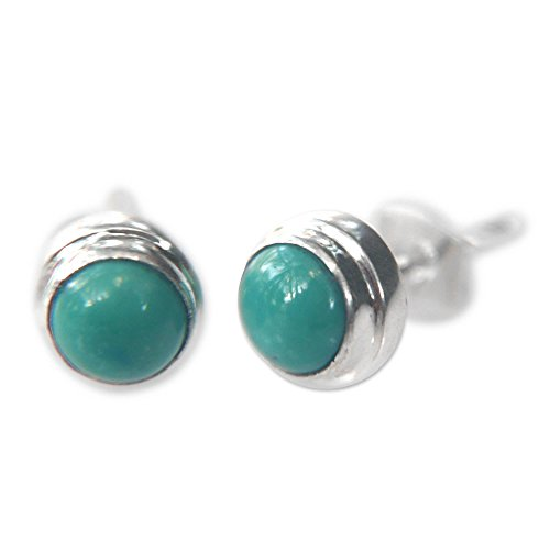 NOVICA Reconstituted Turquoise .925 Sterling Silver Stud Earrings, Blue Moons'
