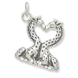 Aninimal Book: Amazon.com: Sterling Silver Heart Shaped Giraffes Charm ...