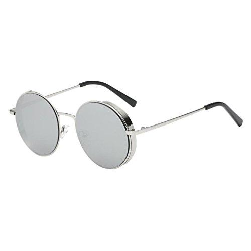 Transer Simple Rounded Design Women Men Classic Metal Frame Mirror Sunglasses Eye Glasses - Eye Metal