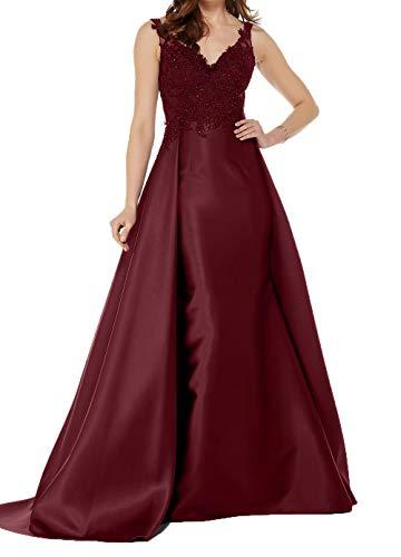 Lang Damen mit Brautmutterkleider Abschlussballkleider Charmant Elegant Satin Abendkleider Applikation Spitze Burgundy UqCxdz6wd