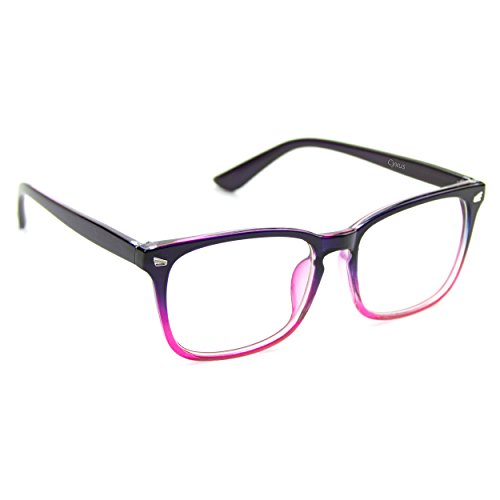 Cyxus Blue Light Filter Computer Glasses for Blocking UV Headache [Anti Eye Eyestrain] Transparent Lens Gaming Glasses, Unisex (Men/Women) (8082T47, Gradient Pink)