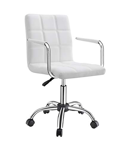LUXMOD Modern Office Chair with Arms, White Swivel Desk Chair, White Midback Office Chair, Modern Home Office Chair, White Task Chair