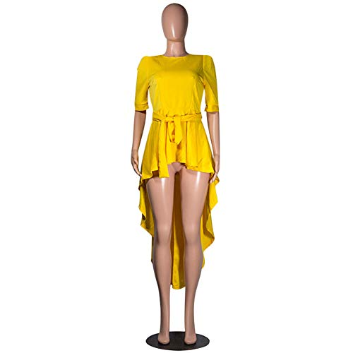Annystore High Low Tops for Women - Ruffle Short Sleeve Bodycon Peplum Shirt Dresses Yellow ()