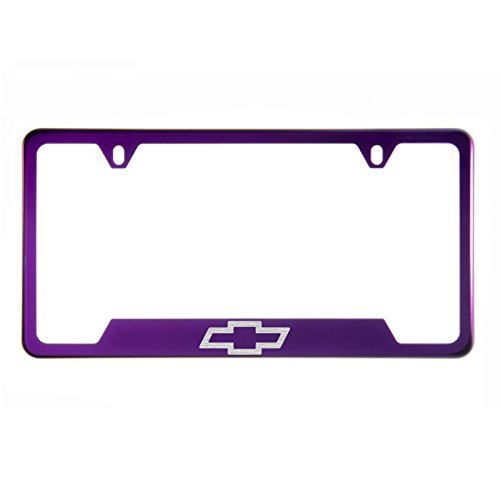 Lettering Out Cut - 1x Laser Etched Chevy Logo on Purple Chrome Bottom Cut Out Stainless Steel License Plate Frame Holder with Aluminum Screw Cap