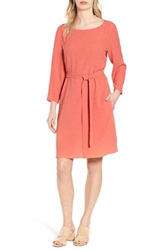 Eileen Fisher Bateau Neck Silk Georgette Self Tie Crepe Dress in Mimosa