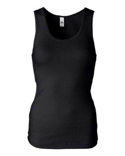 Cotton 2x1 Rib Tank Top - Bella Ladies 5.8 oz. Organic Cotton 2x1 Rib Tank - Black - S