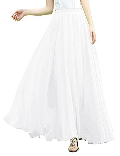 White Sequin Pleated Skirt - 1