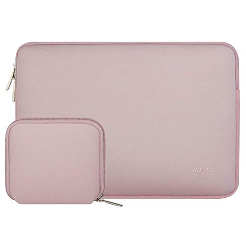 MOSISO Water Repellent Neoprene Laptop Sleeve Bag Cover Compatible 15-15.6 Inch MacBook Pro, Notebook Computer with Small Case, Baby Pink ()