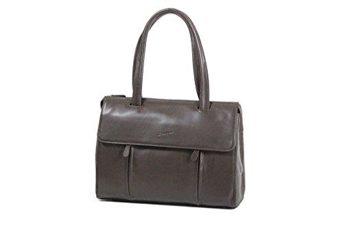 Bolsa de la compra grande Gérard Hénon piel de vaqueta lisa GH13203 flexible Marrón - chocolate
