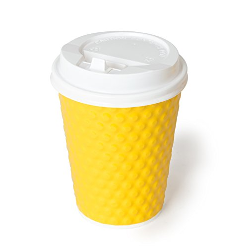 Bubble Quality Disposable Paper Cups With Travel Lids - Ripple Insulated Double Wall Cups - 30 Count - 12 Ounce - Coffee Choice - no Sleeves Needed