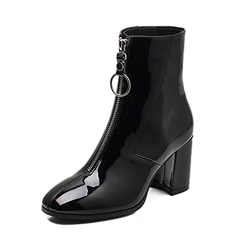 Amazon.com: GOP Store Japanned Leather Boots Woman Zipppy Chains Chelsea Botines Plush Fur Warm Thick High Heels Wedges Martin Boots Women Snow Botas: ...