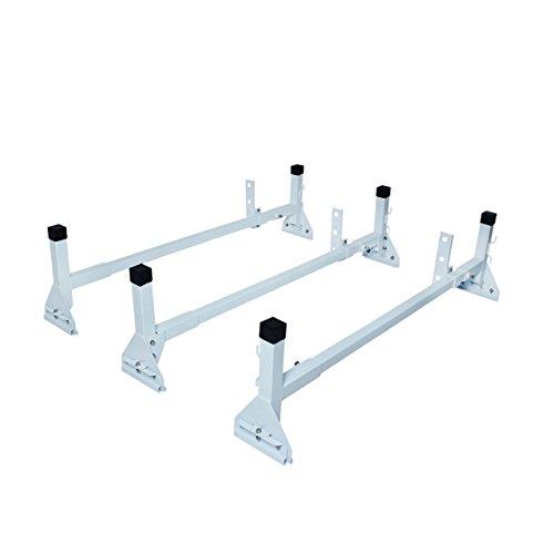 (AA-Racks Model AX27 Aluminum Fullsize Van 3 Bar Rain Gutter Roof Racks with Adjustable Middle Bar)