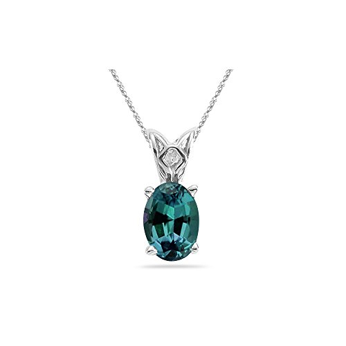 Alexandrite Lab - 4.02-4.52 Cts of 11x9 mm AAA Oval Russian Lab Created Alexandrite Scroll Solitaire Pendant in 14K White Gold