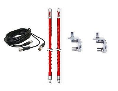 2 Firestik 2 KW3 R 3ft Red CB Antennas - 12ft Dual Coax - Brackets & Studs