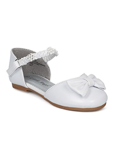 Alrisco Girl Bow Tie Rhinestone Braided Ankle Strap Dorsay Flat HD33 - White Leatherette (Size: Toddler 6) -