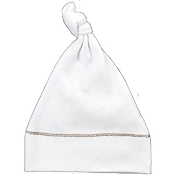 f87109e451d Amazon.com  Organic Baby Hat - Knotted Newborn Hat - White with Brown  Stitching