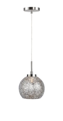 Woodbridge Lighting 13323STN-M00MIR 1-Light Mini Pendant, 7-Inch by 84-Inch Maximum, Satin Nickel