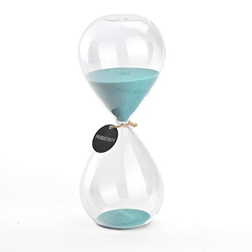 Hourglass Sand Timers - SWISSELITE Biloba Hourglass Sand Timer Inspired Glass/Home, Desk, Office Decor (Turquoise color,30 mins) (Turquoise Decor)