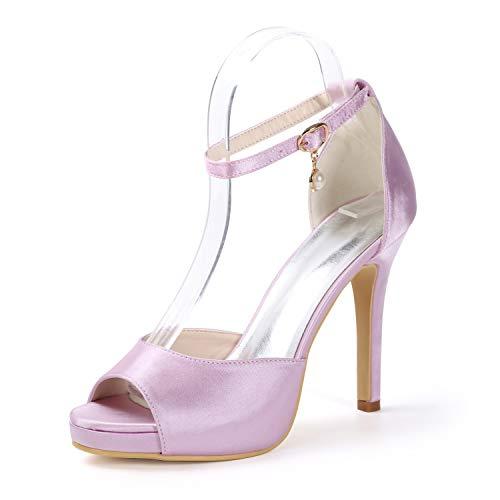 11cm Formal Sandalias yc Satén Noche Plataforma Otoño Peep Tacones De Baile Toe L Mujeres Altos Hebillas Fiesta Pink SfaZOqZ