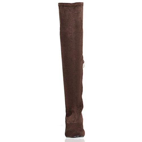 Essex Glam Frauen Denbar Oberschenkeln hohe Synthetisches Stiefeln Braun Wildlederimitat