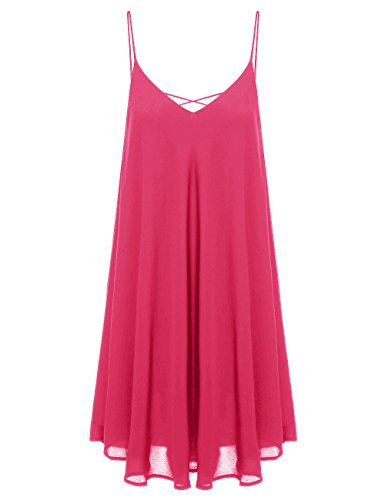 ROMWE Women's Summer Spaghetti Strap Sundress Sleeveless Beach Slip Dress Rose XS