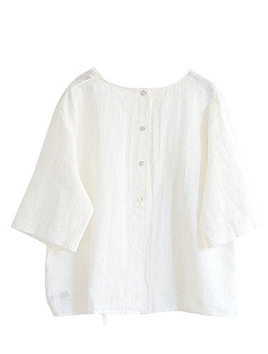 Cou Femme Courtes Blanc T Lin en Manches O Solide Shirt MatchLife Coton vxTqAwZT