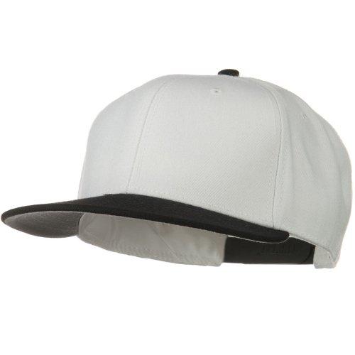 Otto Caps Wool Blend Flat Visor Pro Style Snapback Cap - Black White (Ultrafit Wool Blend Cap)