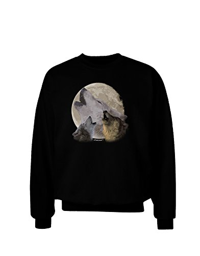 TooLoud Three Wolves Howling at the Moon Adult Dark Sweatshirt - Black - (Moon Adult Sweatshirt)