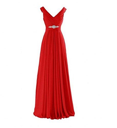 Brautjungfernkleider Partykleider Elegant Braut Rot Marie V Ausschnitt Abendkleider Chiffon Abschlussballkleider La qzO70x