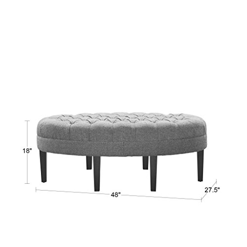 - Madison Park Martin Oval Surfboard Tufted Ottoman Large - Soft Fabric, All Foam, Wood Frame Linen Oval Coffee Table Ottoman - 1 Piece Modern Design Coffee Table for Living Room