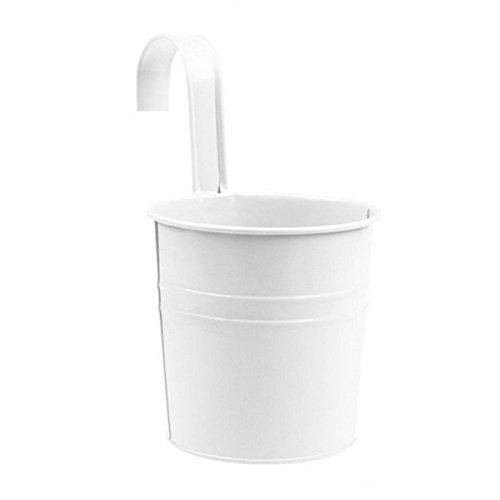 Hosaire Metal Hanging Flower Pots Tin Basket Bucket Planters Mountable Garden Patio holder Pot Light White