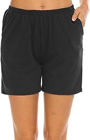 Ekouaer Pajama Shorts Women's Soft Pj Bottoms Short Solid Cotton Sleep Pants S