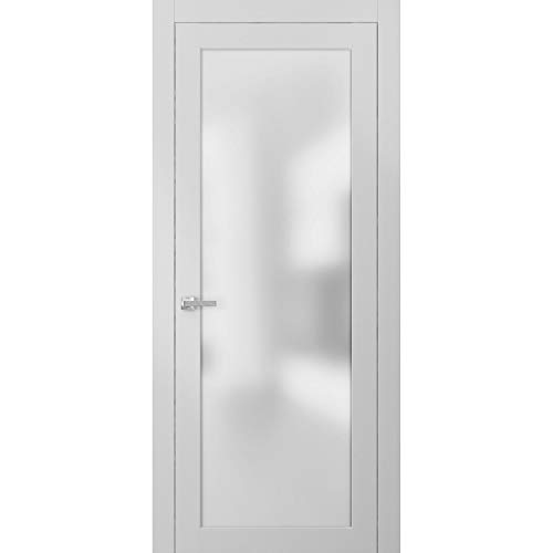 Lite Frosted Glass Door 36 x 84 | Planum 2102 White Silk | Frames Trims Satin Nickel Hardware | Opaque Glass Solid Core Wooden Panel Bathroom Bedroom