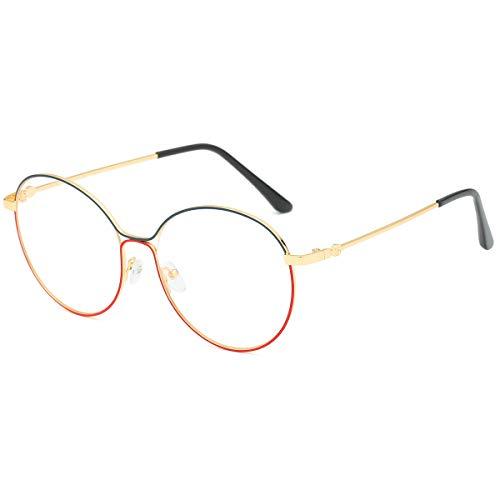 SamuRita Thin Painted Metal Oval Frame Oversized Round Sunglasses 2019NRND(Clear Lens with Gold Frame) (Klare Gläser Frames Amazon)