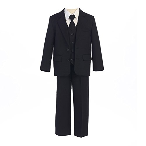 Bodice Vest (Sweet Kids Big Boys Black Button Jacket Vest Shirt Tie Pants Suit 10 Husky)