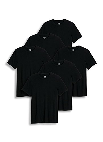 Large Black Classic T-shirt (Jockey Men's T-Shirts Classic Crew Neck - 6 Pack, black, L)