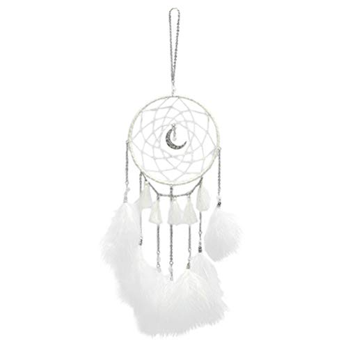 n Dream Catcher Handmade Wall Hanging Wind Chime Pendant Home Decoration Gift Decorative Ornament with Light String (White) ()