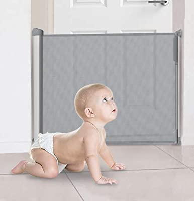 Large Advanced Wide Retractable Pet Gate 80 130cm Retractable Safety Stair Gate for Baby Child Pet with Key Lock