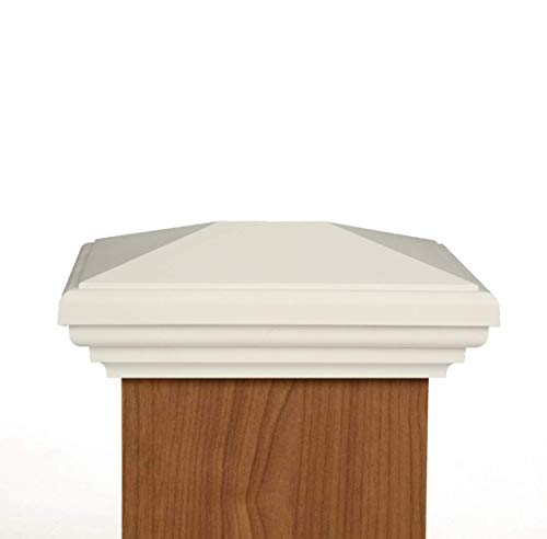 (4x6 Post Cap (Nominal) - White Pyramid Top - 10 Year Warranty)