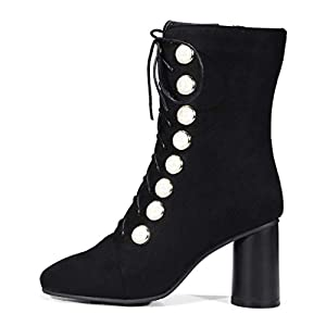 GIY Women's Short Boots High Heel Chelsea Shoes Slip On Waterproof Outdoor Lace-up Ankle Bootie