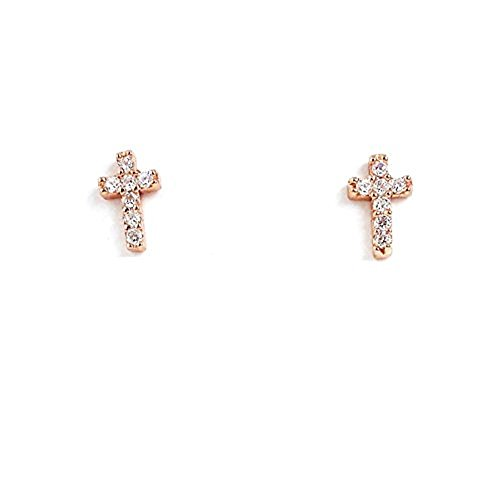 Tisoro Sterling Silver Cross Earrings with Cubic Zirconia Studs - 100% Hypoallergenic & Allergy Free (Rose ()