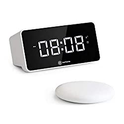 Homtime Alarm Clock for Heavy Sleepers with Wireless Bed Shaker and USB Charging Port for Cell Phone, Powerful Vibrating Alarm Clock for Bedrooms, 3 Level Vibration/Ringtone(White)